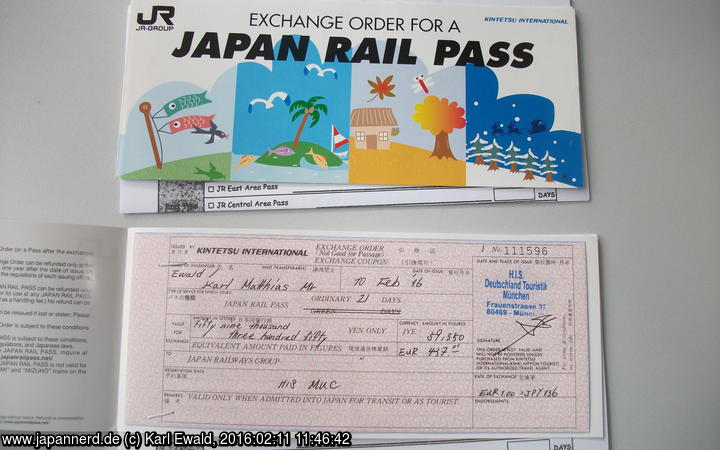 zwei Japan Rail Pass Exchange Orders
