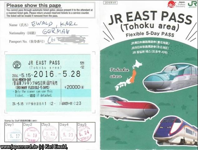 JR East Pass Tohoku Area (Flexible 5 Days)